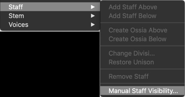 Dorico Manual Staff Visibility Menu or Contextual Menu.