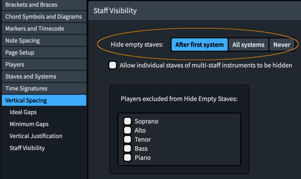 Dorico Layout Options > Vertical Spacing > Staff Visibility